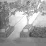 schetplan tuin in potlood uitvoering, detailschetsplan