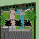 3D foto van de achtertuin zoals deze zal worden na renovatie tuin.